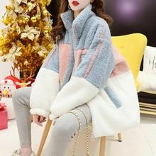 Women 2021 New Autumn Winter oversized Lamb Wool Coats Fur Coat Outerwear Female Color Matching Plus Velvet Thicken Jacket Ins