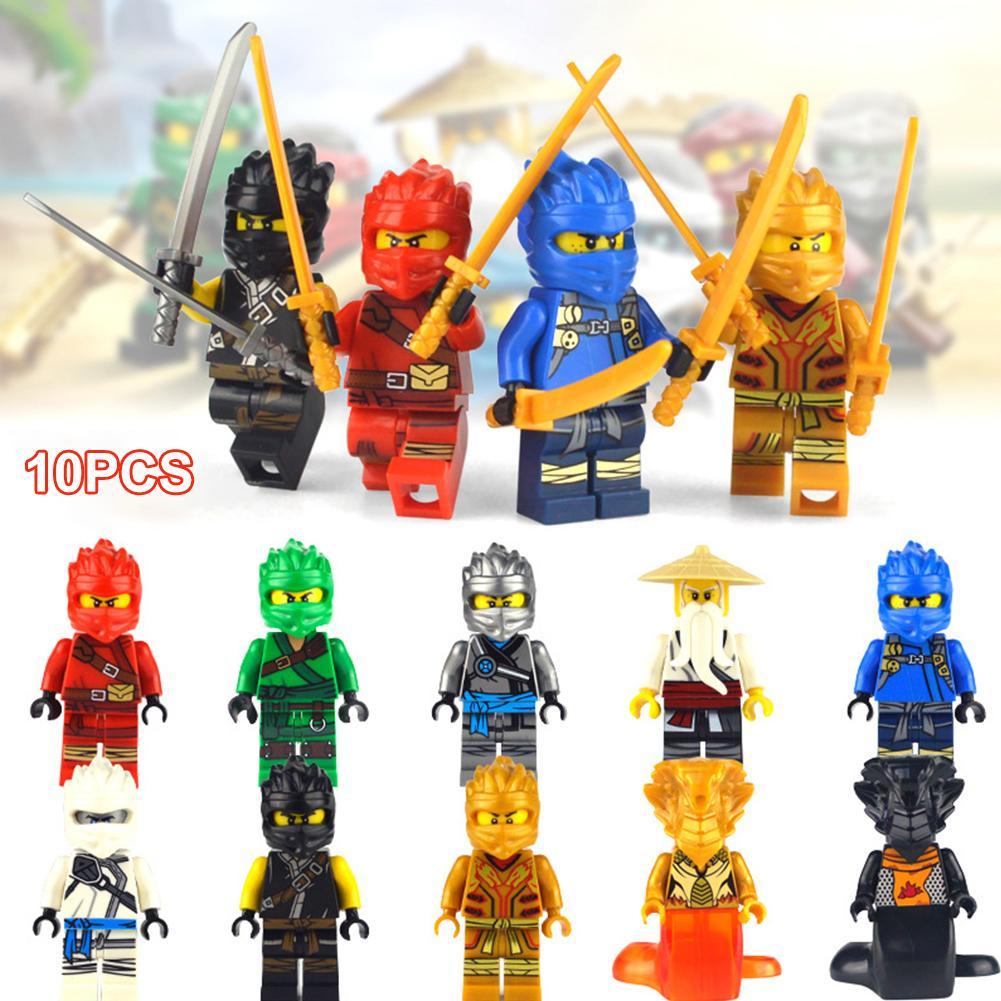 10PCS Ninja Figurine Doll Toys Small Particles Educational Assembling Building Blocks Toys For Children