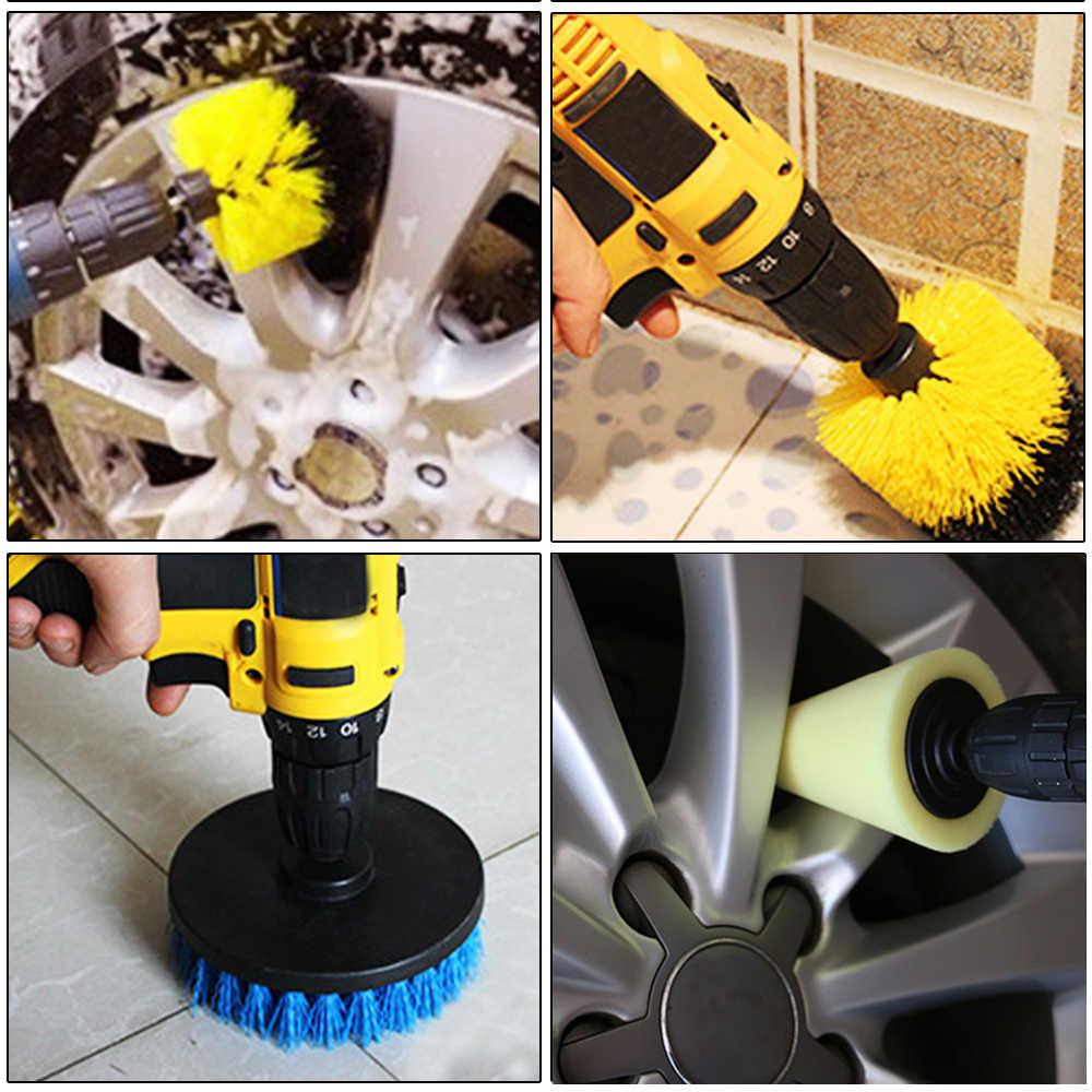 Juego de cepillo limpiador eléctrico 9 uds, cepillo para llantas de coche, rueda de neumático, limpieza de pinceles de pulido, almohadillas, esponja de pulido, herramientas de limpieza de coche