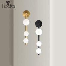 Tiooka chevet nordique doré noir applique murale moderne boucle d'oreille TV appliques de fond avec abat-jour pour escalier lampe de salon de coiffure
