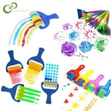 4 шт поворот Краски рисунок «сделай сам» разноцветная мочалка щетки для детей EVA Стиль Арт Деко нарисованная кистью инструмент детские образовательные игрушки включают светящиеся объекты ZXH