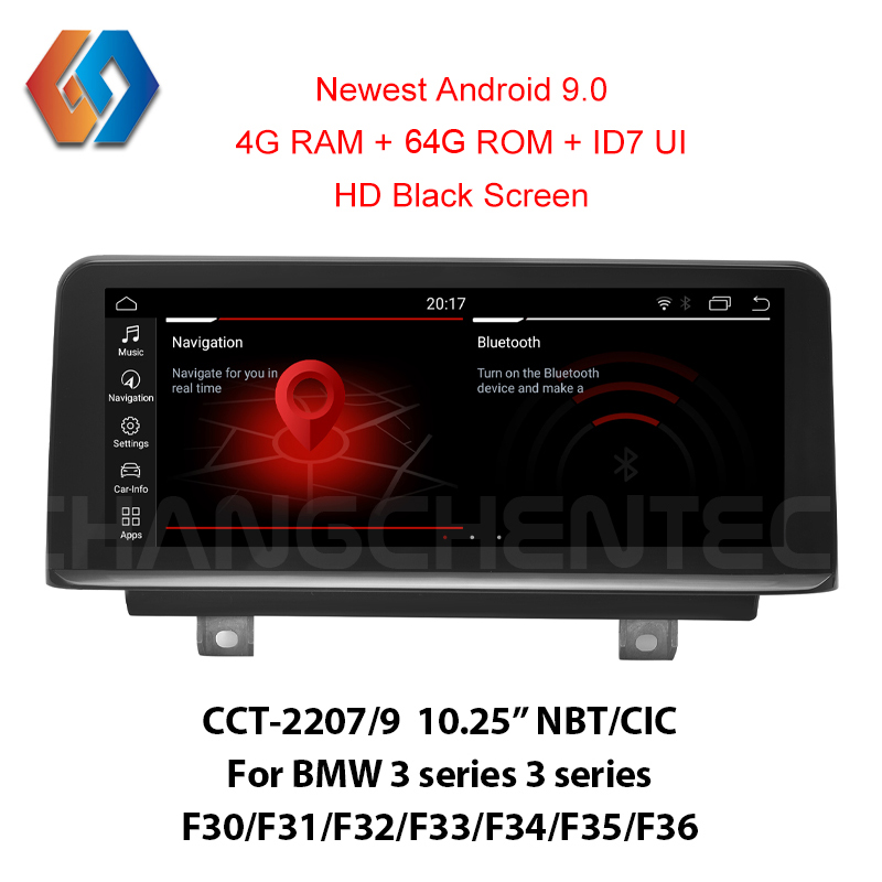 Incrível id7 real android 9 64g rom tela para bmw 3 4 séries f30 f31 f34 f35 f32 f33 f36 nbt cic 1920x720 hd luxo tela preta