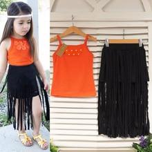 2018 Fashion Baby Kids Girls 2Pcs Clothing Set Baies Vest Top Tassels Skirts Set Flower Tank Tops+Tassel Skirt 2-8Y Clothing цены онлайн