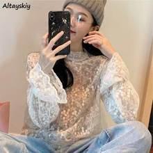 Bluzki damskie koronka w stylu Vintage siatka letnia jesień eleganckie proste damskie koszule koreański seksowny rękaw Flare nowe modne damskie eleganckie koszule