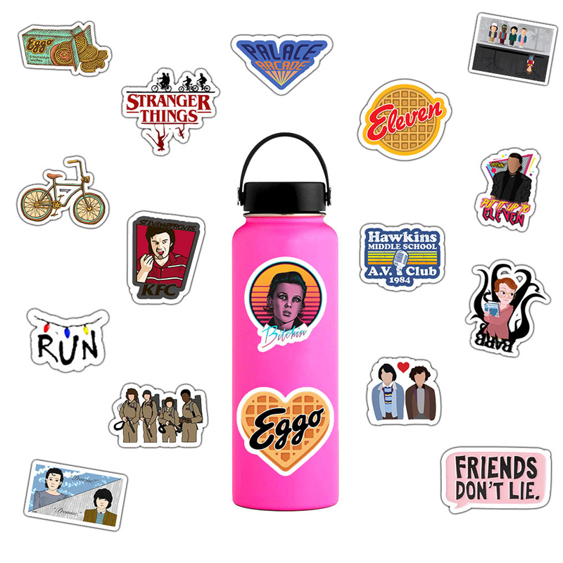 Image 5 - 50 Pcs Stranger Thing Figure Stickers Set refrigerator Sticker For Luggage Skateboard Motorcycle Laptop Waterproof Sticker-in Stickers from Toys & Hobbies