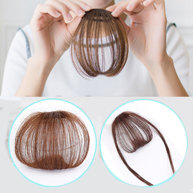 Short Straight Bangs Synthetic Wig Blunt Straight Natural Wig Female Heat Resistant Hair Piece Hair Clip Hair Front