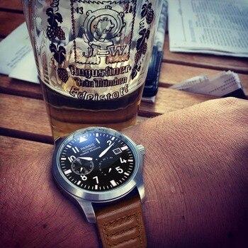 Gorąca sprzedaż 47mm Parnis zegarek mężczyźni biznes automatyczne zegarki mechaniczne czarny PVD przypadku biała tarcza świecące numery