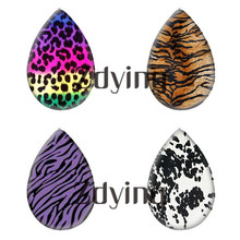 Zdying 10pcs/lot Animal Tiger Snake Leopard Pattern Water Tear Drop Glass Photo Cabochon Demo Flat Back DIY Jewelry Findings