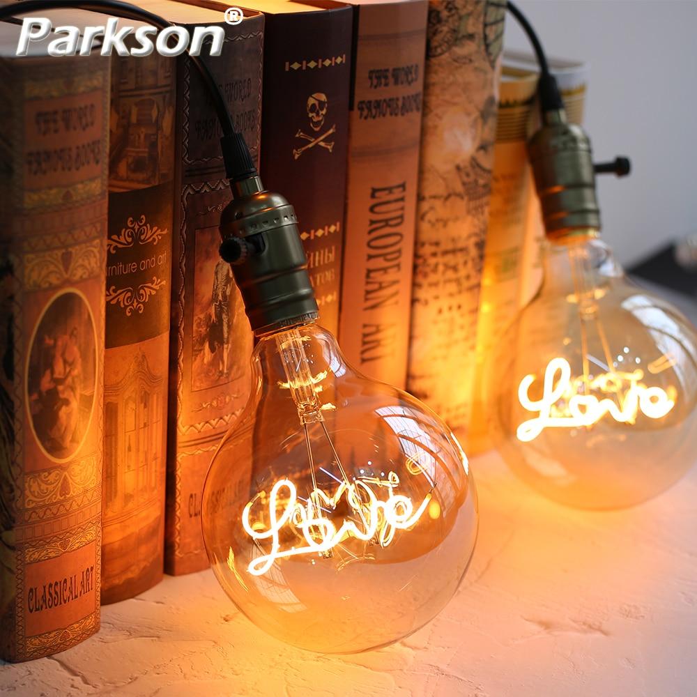 Retro Vintage LED Edison Light Bulb E27 220V LOVE Ampoule Vintage Bulb Edison Incandescent Filament Lamp Festival Wedding Decor