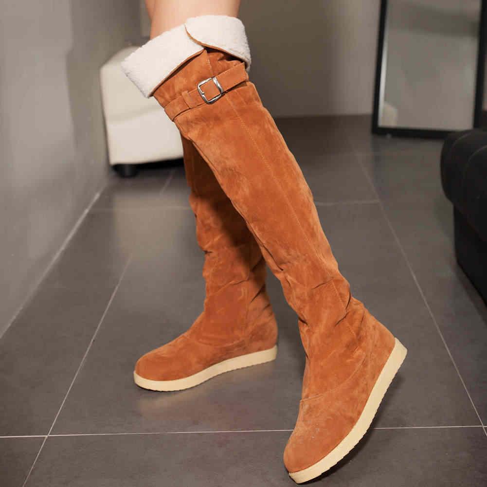 KARINLUNA büyük boy 33-42 yeni uyluk yüksek kar botları moda sıcak satış bağcıksız ayakkabı kadın kış sıcak kürk üzerinde diz çizmeler