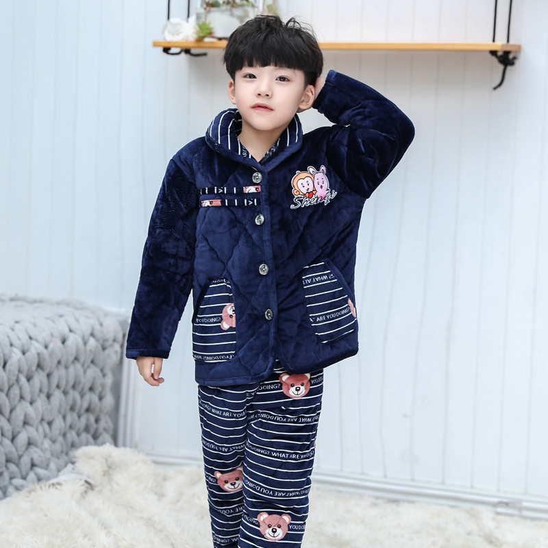 Ultra Thick Flannel Children Pyjamas Suit Homewear Sleep Set Long Sleeve Navy Blue Cotton Winter Sleepwear Boys Girls Nightwear
