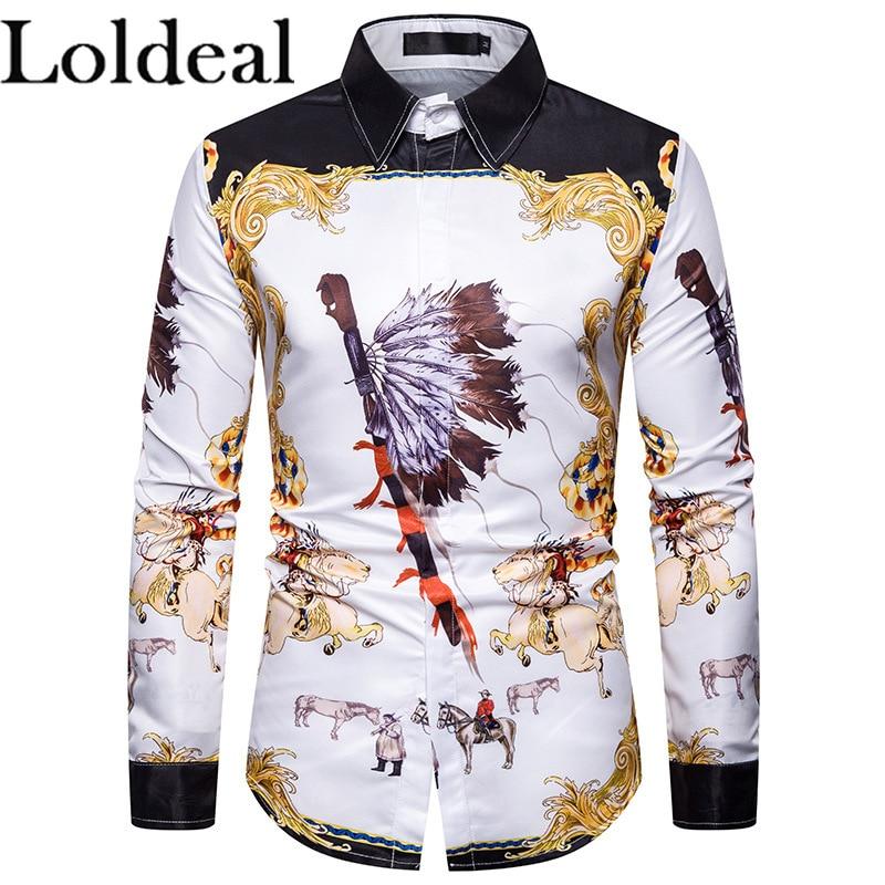 Loldeal True Reveler Character Print Indian Men Long Sleeve Shirts Cowboy Blouse War Horse Hip Hop Tops Party Club Shirts