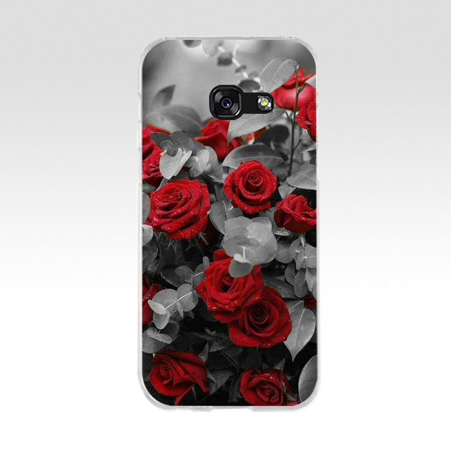 Beautiful Garden Red Roses Soft Silicone Tpu Cover Phone Case For Samsung A3 A5 2016 A3 A5 2017 A7 A8 2018 A50