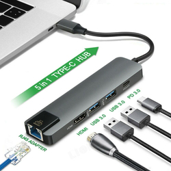 5in1 typu C Hub USB HDMI ładowania PD USB C do Gigabit Ethernet RJ45 adapter lan lub Mac book Pro Thunderbolt 3 USB C ładowarka Hub w Adapter typu C od Elektronika użytkowa na