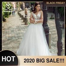 Vestido de novia Sweetheart Appliques A Line manga larga flores Vestido de novia 2020 ilusión princesa Swanskirt GY25 Vestido de novia