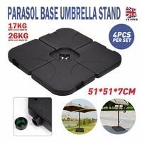 4pcs/set Portable Outdoor Parasol Umbrella Base Stand Durable Heavy Duty Square Garden Patio Umbrella Sun Shelter Accessory