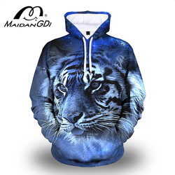 Maidangdi 2020 Men's Animal hoodie Winter Outdoor Indoor Pullover Fashion 3D Digital Printing Lion Male Sweatshirt Big Size 7XL
