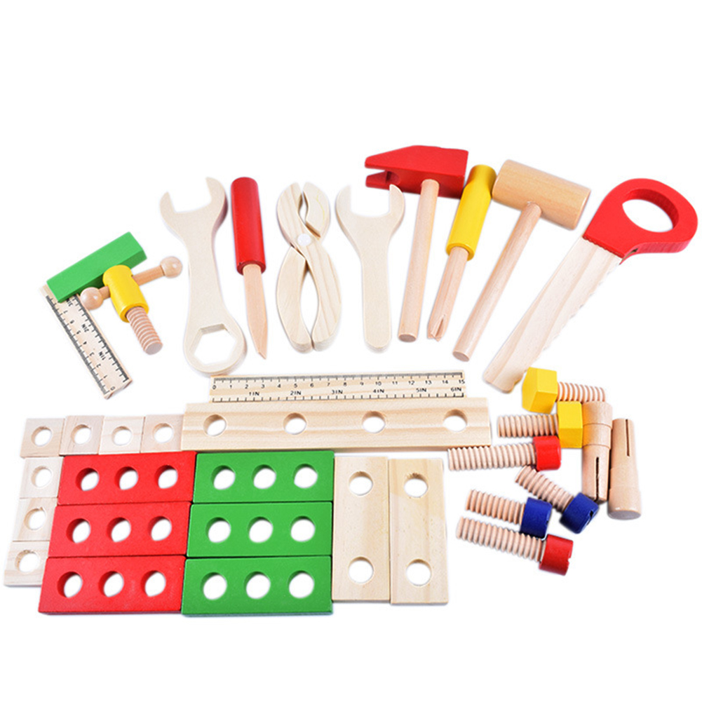 Wooden Toolbox DIY Construction Wooden Tool Box Simulation Maintenance Kits Pretend Play Toys For Assemble Disassemble