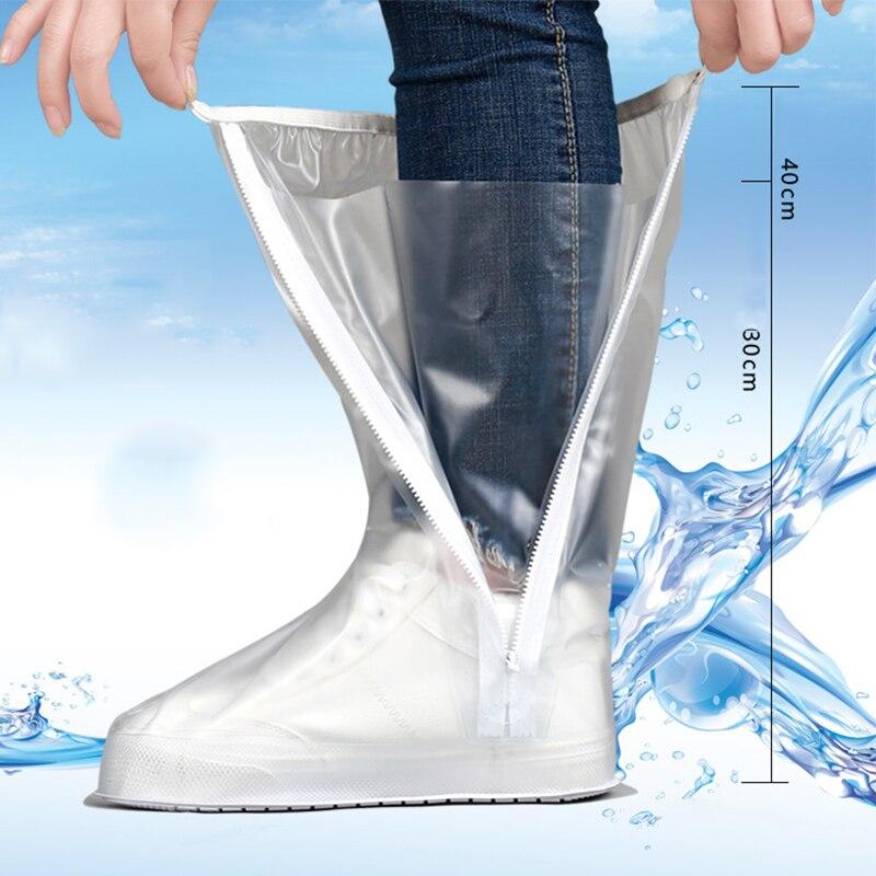 Tampas superiores altas para sapatos à prova dwaterproof água proteção contra epidemias overshoes transparente branco zíper sapato de silicone cobre 2021