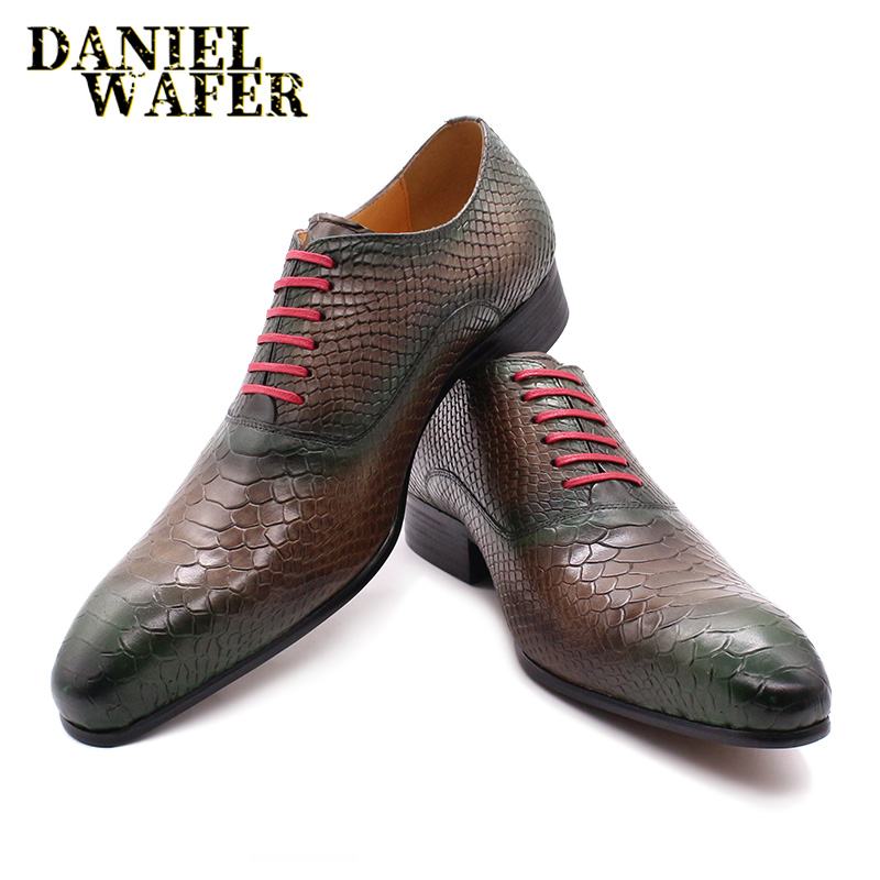 Luxury Italian Oxford Shoes Men Formal Dress New Fashion Style Snake Skin Prints Mix-Color Lace Up Pointed Toe Leather Shoes Men