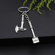 Hello Miss New creative personality gadget keychain shovel axe Love lettering compact portable ring