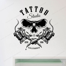 Vinyl Wall Art Decals TATTOO Studio Salon Room Decoration Wall Tattoo Sticker Creative Cool Pattern Shop Window Stickers AY1992 yeduo creative halloween ghost wall stickers diy creative party decoration halloween kids gift sticker shop store window decal
