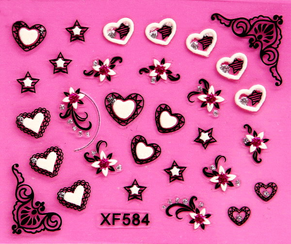XF Nail Sticker 3D Varved Nail Sticker Bride A Hand Explicit Whitening XF584