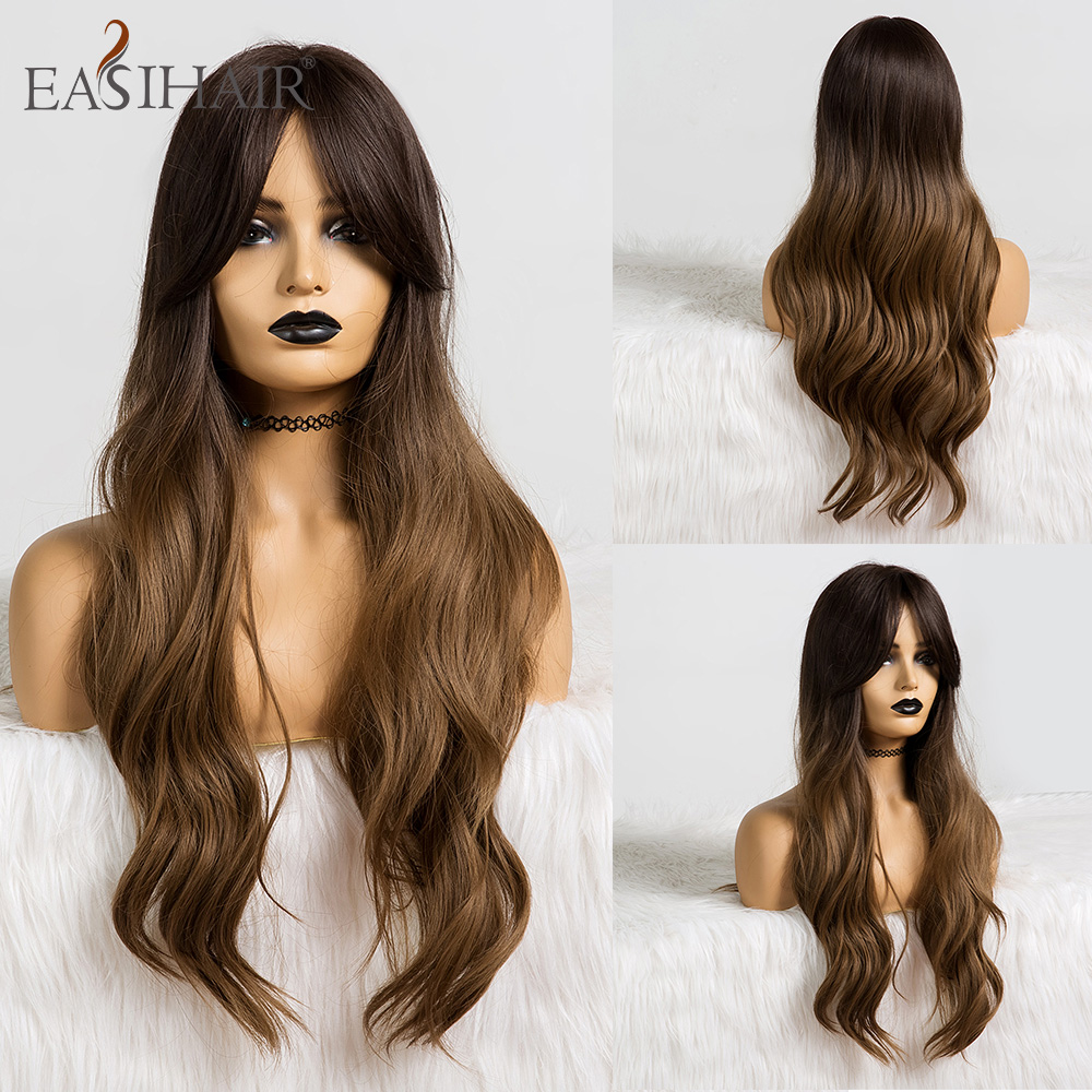 EASIHAIR Long Ombre Brown Synthetic Wigs For Black Women Wigs With Bangs High Density Temperature Glueless Wavy Cosplay Wigs