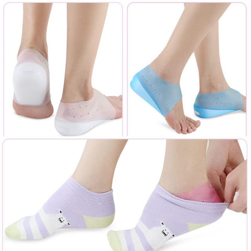 1 Pair Men Women Invisible Height Increase Insole Wearable Lift Heel Cushion Inserts Shoe Lining Socks Pain Relief Pads Liners