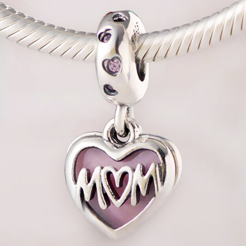 Original Pink Enamel Mom Script Heart With I Love You Pendant Beads Fit 925 Sterling Silver Charm Pandora Bracelet Diy Jewelry(China)
