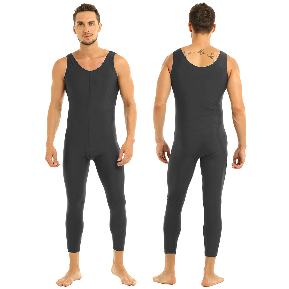 Men Sleeveless Leotard Bodysuit Lycra Tights Leggings for Ballet Dance Vest Teddy Sports Unitard Catsuit Male Dancewear Jumpsuit 14