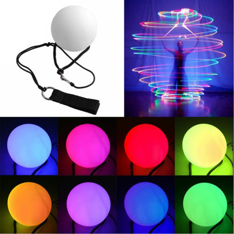 Flashing LED Multi-Coloured Glow POI Thrown Balls Light Up For Professional Belly Dance Yoga Fitness Christmas Party Disco DJ