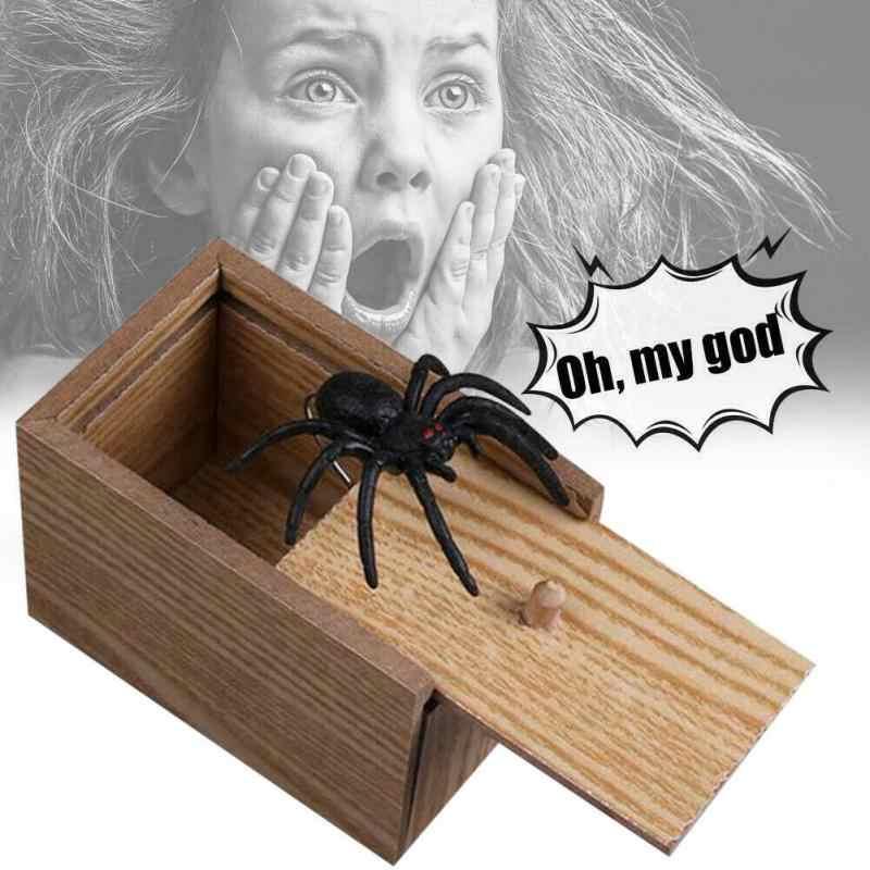 Enfants drôle jouer blague cadeau jouet caché dans le cas tour jouer blague horreur Gag jouets en bois blague araignée boîte de peur drôle cadeau boîte de peur