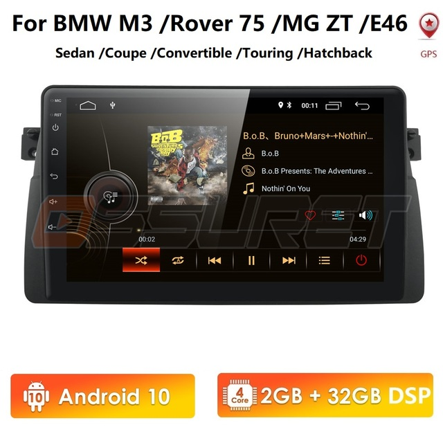 الروبوت 10 4G سيارة GPS لاعب ل BMW E46 M3 MG ZT روفر 75 GPS ستيريو الصوت والملاحة الوسائط المتعددة شاشة رئيس وحدة USB OBD2 DAB +