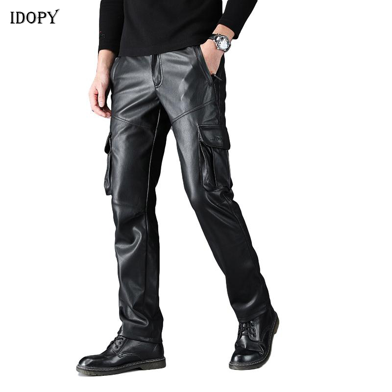 Idopy Men`s Faux Leather Cargo Pants Military Style Multi Pockets Elastic Waist Army Tactical PU Soft Leather Trousers Plus Size