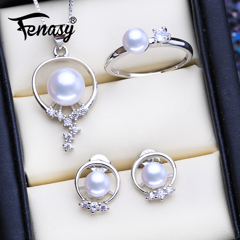 FENASY Natural Freshwater Pearl Jewelry Sets For Women Classic Cute Stud Earrings Fashion Pendant Necklace Party Rings