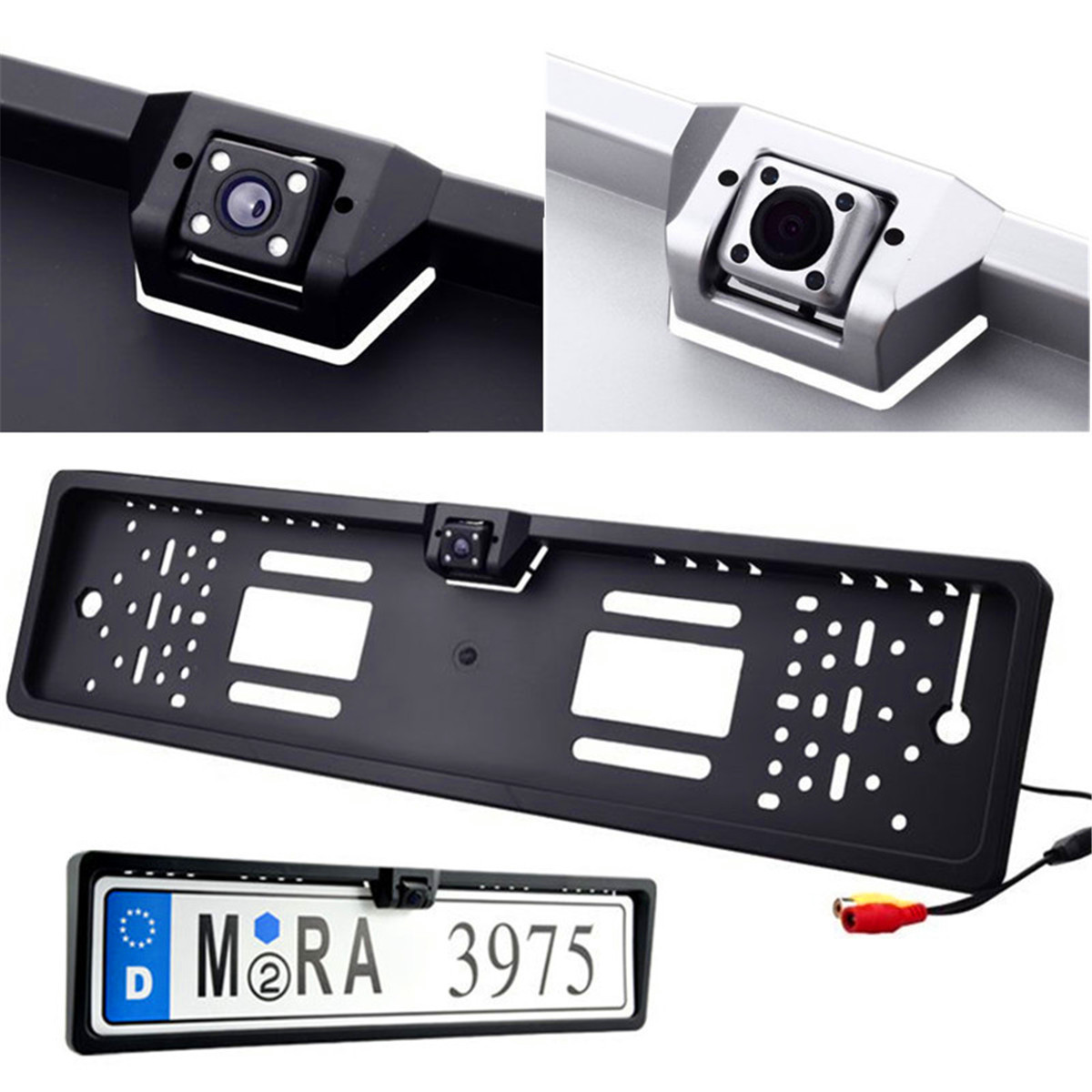 HD Car Rear View Camera 4 LED Night Vision Auto Reverse Parking Monitor Backup Camera CMOS NTSC for European License Plate Frame