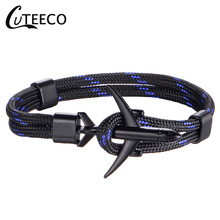 CUTEECO Fashion Airplane Anchor Bracelets Men Charm Rope Chain Paracord Bracelet Male Air Force One Style Wrap Metal Sport Hook