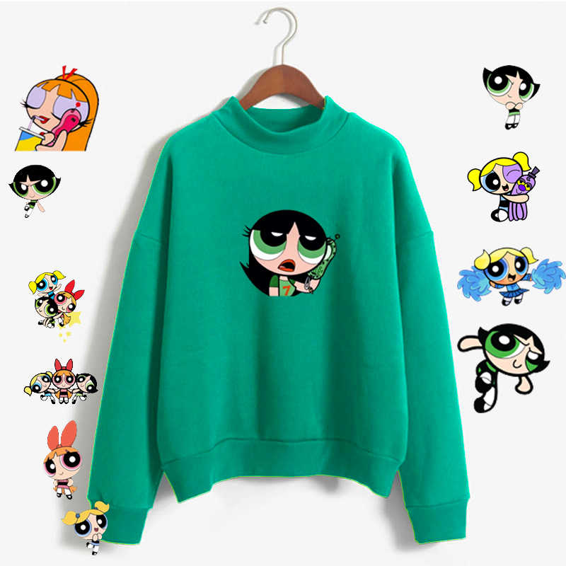 Kawaii Powerpuff  Cute Girls Sweatshirt  Fashion Women's Clothing Sweatshirt Cartoon Print Hoody Girls Kawaii Pullovers Tops