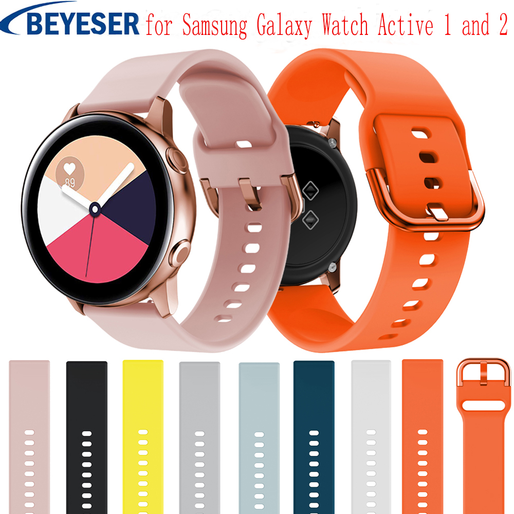 20mm Silicone Watchbands For Samsung Galaxy Watch Active 2 40 44mm Smart Sport Strap For Samsung Galaxy Watch 42mm Watch Strap
