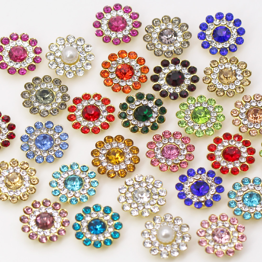20Pcs Flower Crystal Rhinestones 14MM Flatback Sewing Rhinestone For Clothing Metal Crystal Jewelery For Dresses DIY Crafts