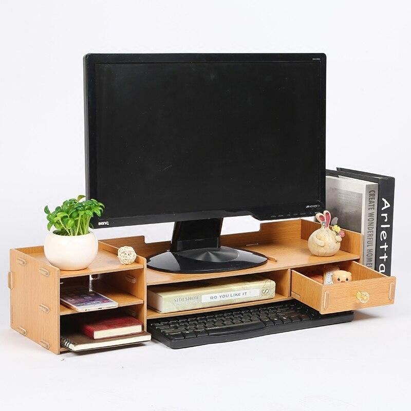 Meuble TV bureau ecran moniteur ordinateur etagere augmentée boite de rangement bureau support tiroir clavier
