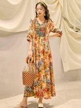 Длинное платье с вышивкой в национальном стиле Таиланда богемное