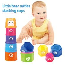 Figure And Letters Children Educational Toys 10PCS Baby Fun Stacking Cups Toy Fun Rainbow Cups Stacking Tower Mini Bear Toy Gift