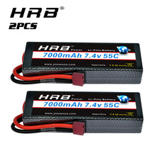 1/2packs HRB 2S Lipo Battery 7.4V 7000mah Hard case Car battery with Deans plug 55C for 1/12 1/10 Trex Car truck Monster racing