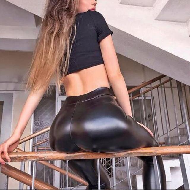 Winter Women Black PU Leather Leggings  Skinny Push Up High Waist Leggings Elastic Trousers Stretch Plus Size Leggings 5xl 2