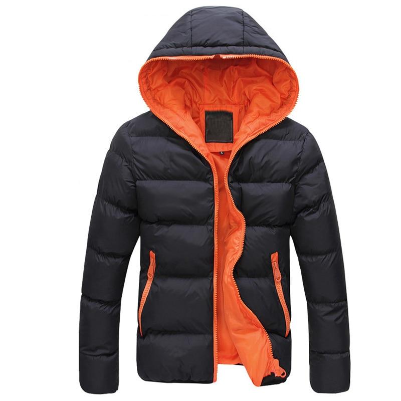 Jacket Coat Men Color Block Zipper Hooded Cotton Padded Coat Slim Fits Thicken Outwear Jacket