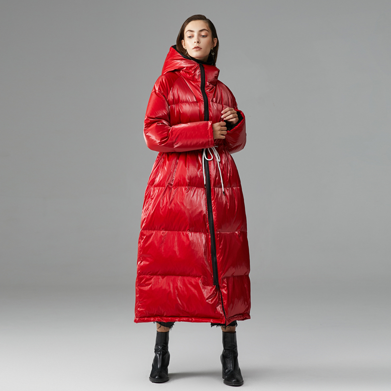Winter European Fashion Popular Glossy X-Long White Duck Down Jacket Female Oversized Waterproof Parkas Hooded Bright  Coat F474