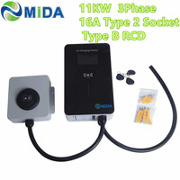 MIDA EU Standard 16Amp 11KW EV Charger Station EVSE Wallbox LED Screen Electric Vehicle Car Charging Point with type 2 socket