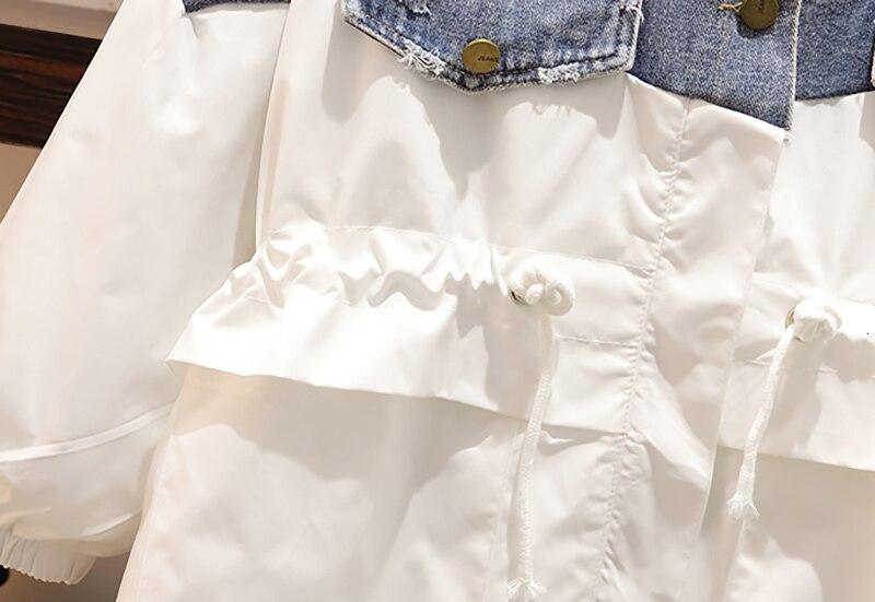 CHICEVER Patchwork Denim Women's Windbreaker Lapel Lantern Sleeve Hit Color Drawstring Plus Size Coat Female 19 Autumn Fashion 16